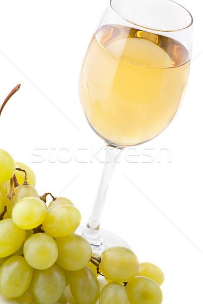 glass of wine and grapes on white Stock photo © julenochek