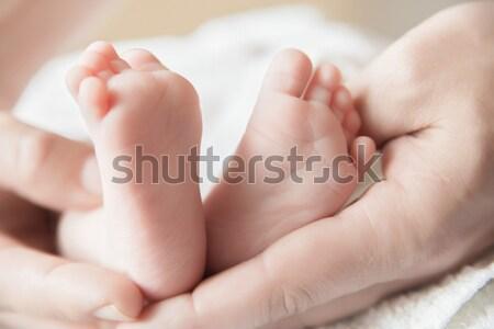 Parent holding his newborn baby's feet  Stock photo © julenochek
