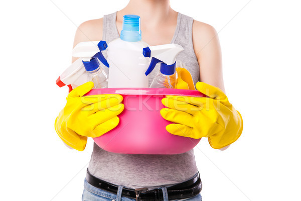 Unknown female holding cleaning substance. Stock photo © julenochek
