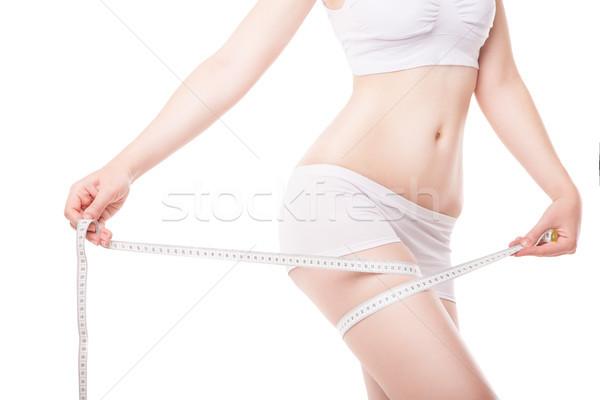 Vrouw dij tape meetlint witte Stockfoto © julenochek