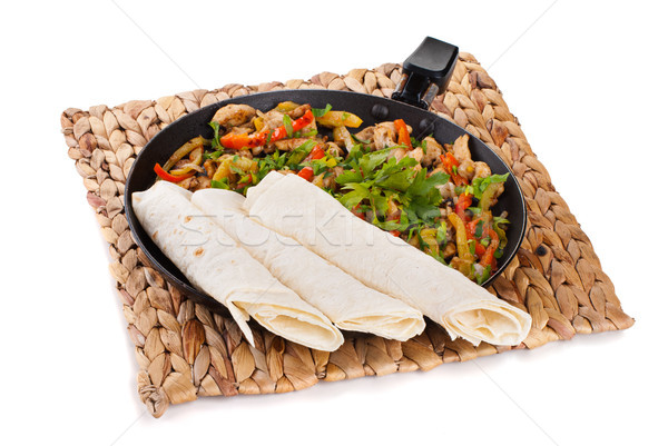Traditioneel Mexicaanse rundvlees fajitas voedsel Rood Stockfoto © julenochek