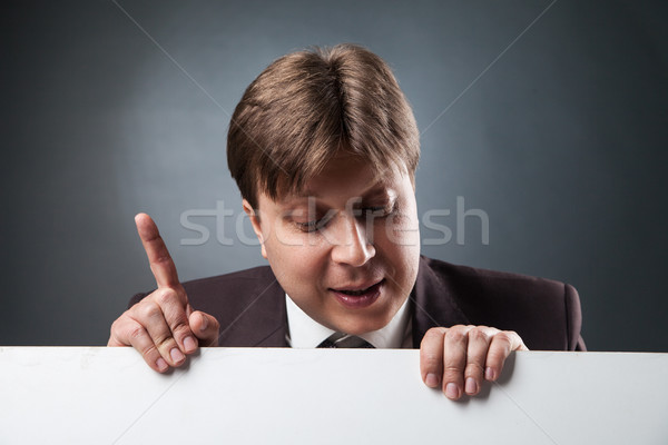 Businessman with index finger up Stock photo © julenochek