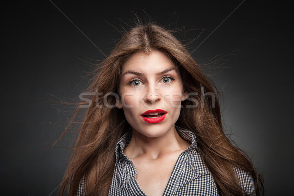 Confused woman got really surprised. Stock photo © julenochek