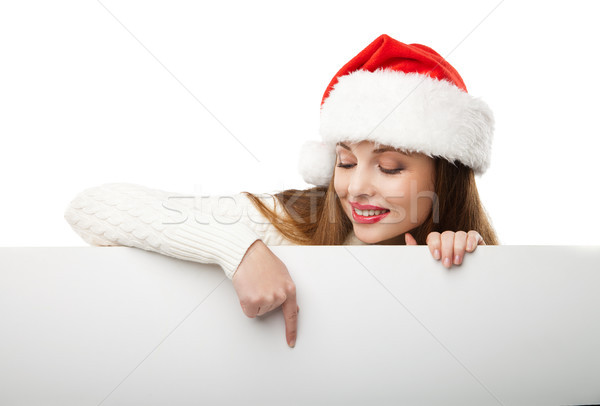 Foto stock: Natal · mulher · seis · indicação · vazio
