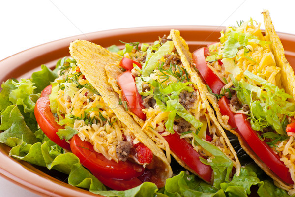 beef tacos with salad and tomatoes salsa Stock photo © julenochek