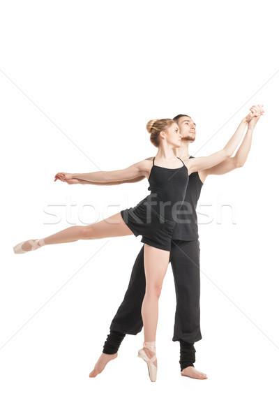 элегантный балет пару черный танцоры создают Сток-фото © julenochek