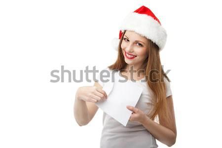 Gülümseyen kadın Noel şapka posta kış Stok fotoğraf © julenochek