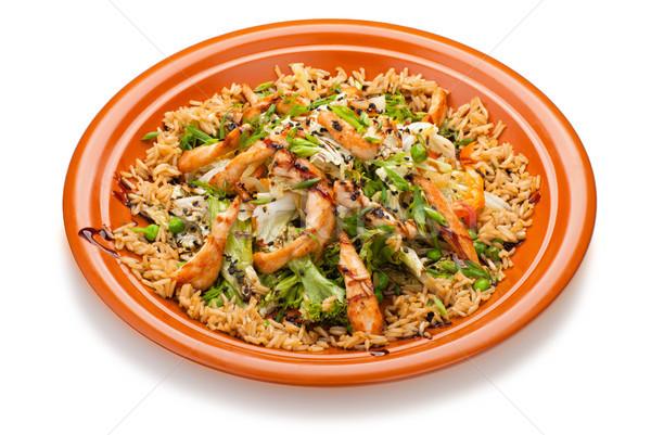 Сток-фото: тайский · жареный · риса · куриные · овощей · кухня