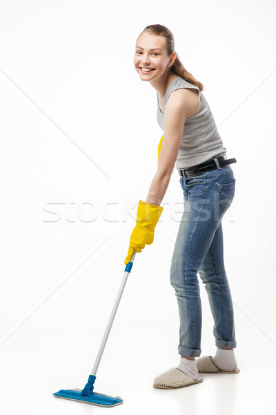 Smiling woman with swab isolated Stock photo © julenochek