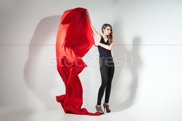девушки красный ткань Сток-фото © julenochek
