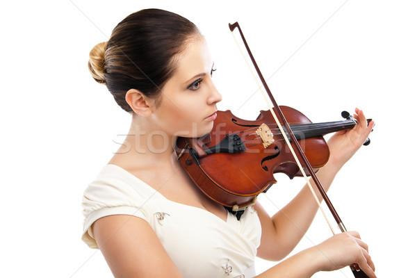Foto stock: Belo · mulher · jovem · jogar · violino · branco · música