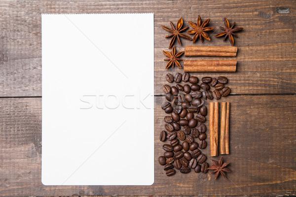 Carta bianca ricette caffè spezie legno business Foto d'archivio © julenochek