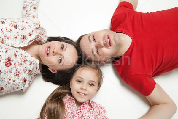 肖像 幸せな家族 家族 少女 男 ストックフォト © julenochek