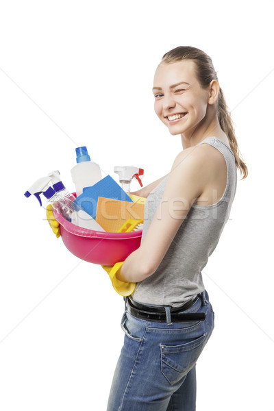 beautiful woman in gloves with basin over white Stock photo © julenochek