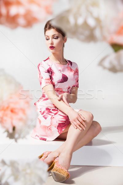 Elegancki kobieta kwiatowy sukienka portret piękna Zdjęcia stock © julenochek