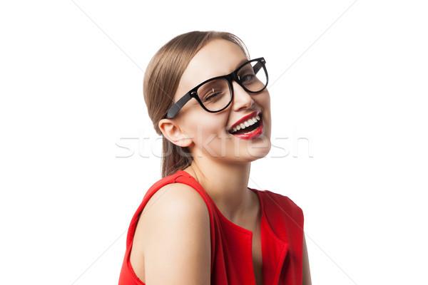 Foto stock: Retrato · sorridente · mulher · óculos · lábios · vermelhos