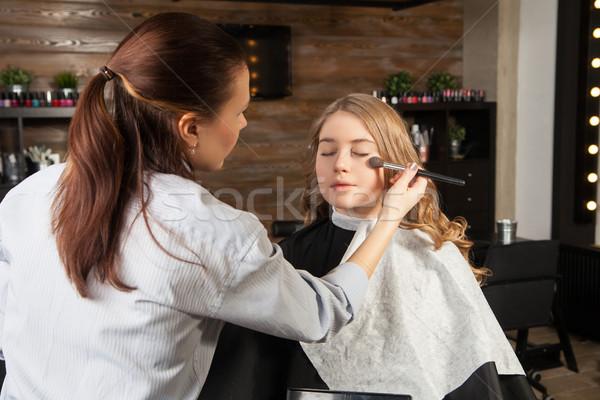 Stilist makyaj makyaj yüz yatay Stok fotoğraf © julenochek