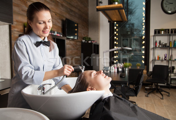Fodrász mosás fej stylist haj ügyfél Stock fotó © julenochek
