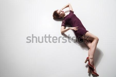 Nő ruha sarkak pózol padló portré Stock fotó © julenochek