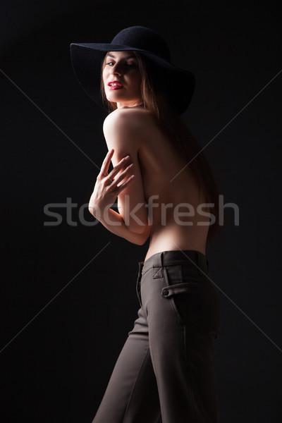 Piękna młodych topless model hat portret Zdjęcia stock © julenochek