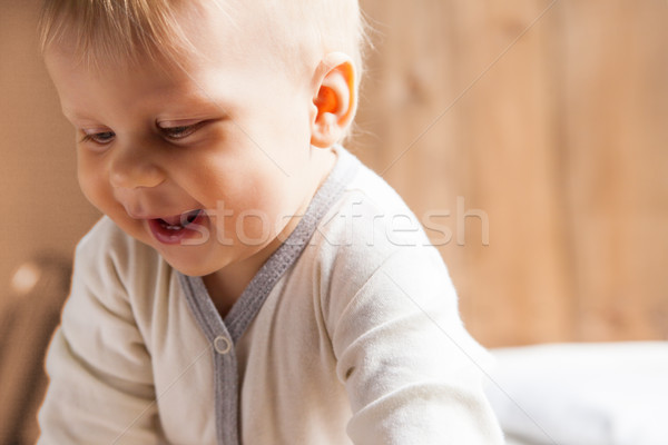 Pequeno criança sorridente criança branco Foto stock © julenochek