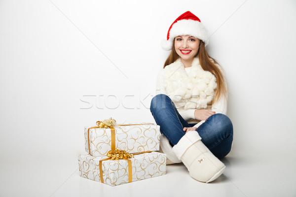 女性 ホールド クリスマス ギフト 白 サンタクロース ストックフォト © julenochek