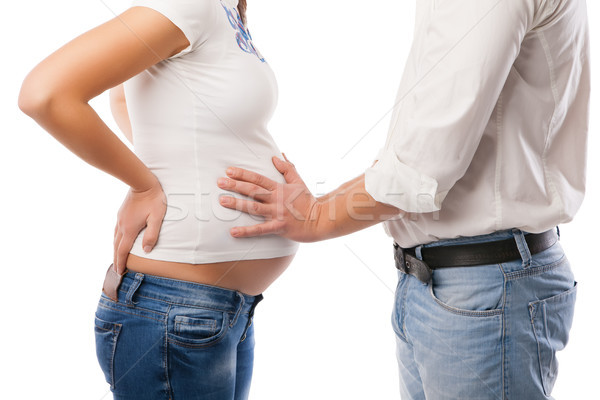 Young couple pregnant mother and happy father Stock photo © julenochek