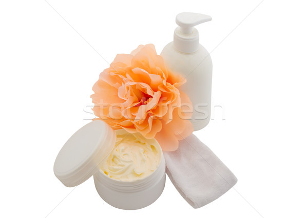 Spa cosmetic creams and flower isolated on white Stock photo © julenochek