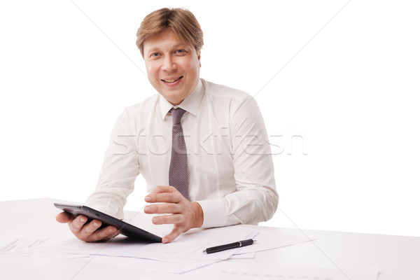 Jóképű mosolyog férfi táblagép izolált fehér Stock fotó © julenochek