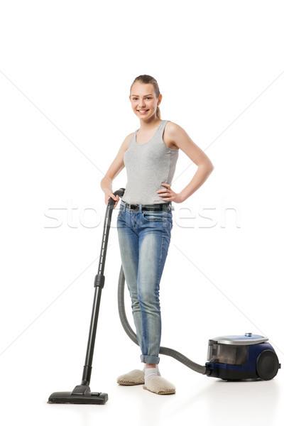 Sorrindo isolado sorridente mulher jovem dona de casa branco Foto stock © julenochek