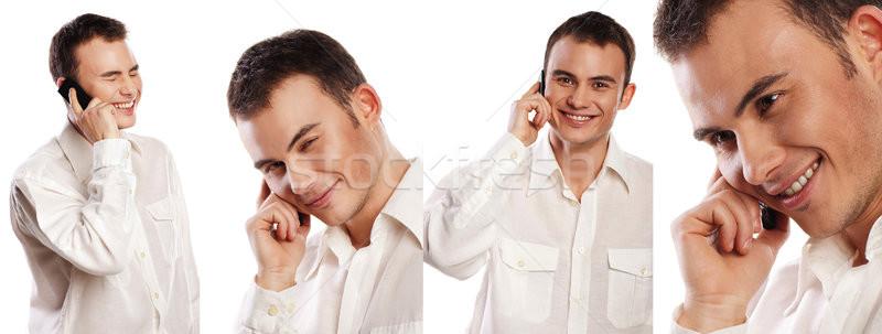 Collage ritratti uomo d'affari telefono isolato bianco Foto d'archivio © julenochek