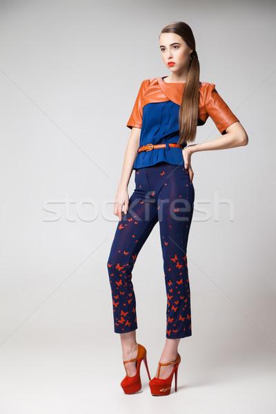 Mooie model mode kleding hielen portret Stockfoto © julenochek