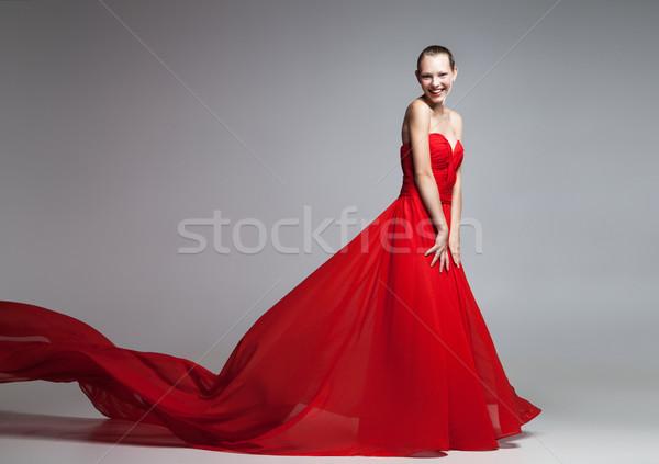 красивой красное платье Flying юбка глядя Сток-фото © julenochek