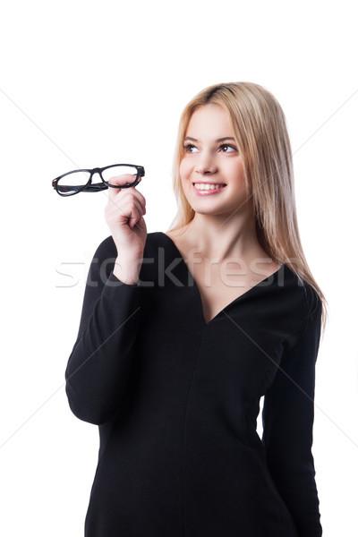 ビジネス女性 眼鏡 孤立した 白 ストックフォト © julenochek