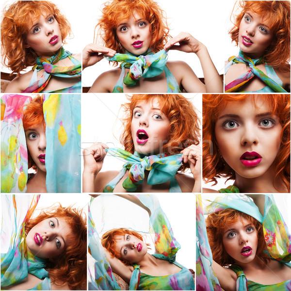 Collage portretten mooie jonge Rood vrouw Stockfoto © julenochek