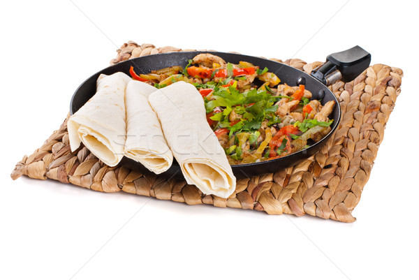 Traditioneel Mexicaanse rundvlees fajitas tomaat hot Stockfoto © julenochek