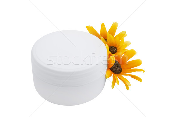 Spa cosmetic cream and flowers isolated on white Stock photo © julenochek