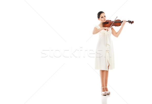 Foto stock: Belo · mulher · jovem · jogar · violino · branco · mulher