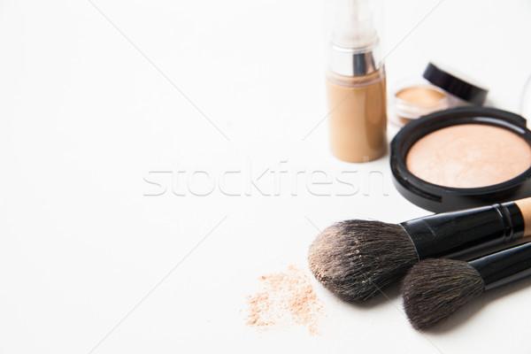 Polvere fondazione bianco isolato faccia donne Foto d'archivio © julenochek