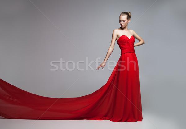 モデル 飛行 スカート 赤いドレス 肖像 ストックフォト © julenochek