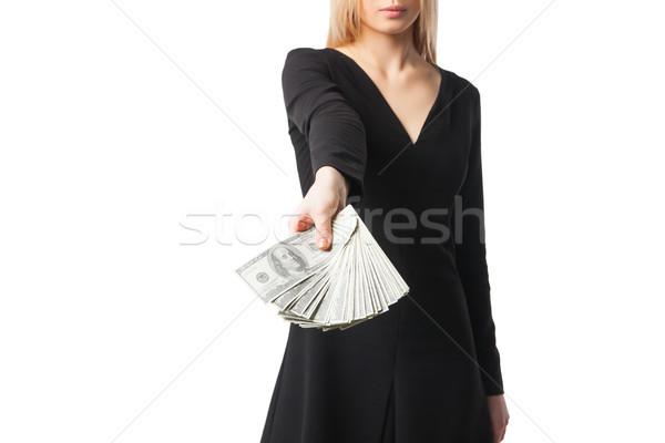 Mulher manter dólares vestido preto Foto stock © julenochek