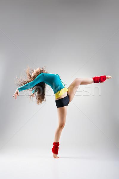モダンなスタイル ダンサー ポーズ グレー スタジオ 女性 ストックフォト © julenochek