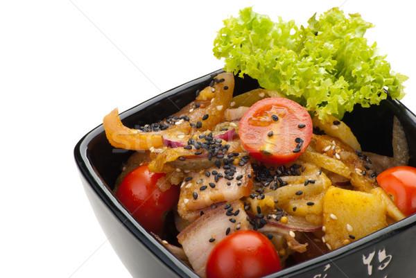 Potato salad with bacon and onions Stock photo © julenochek