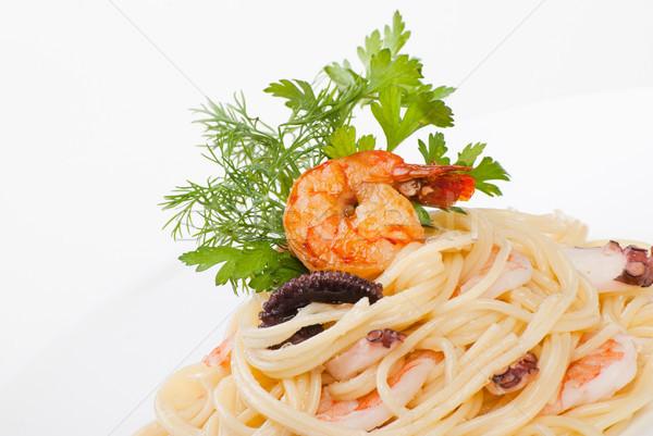 Spagetti deniz ürünleri peynir kremsi sos İtalyan Stok fotoğraf © julenochek