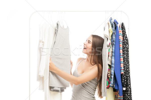 счастливым женщину глядя Top портрет молодые Сток-фото © julenochek