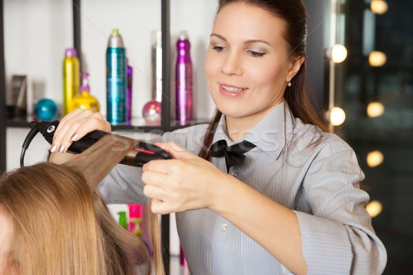 Fodrász készít stylist fej vízszintes bent Stock fotó © julenochek