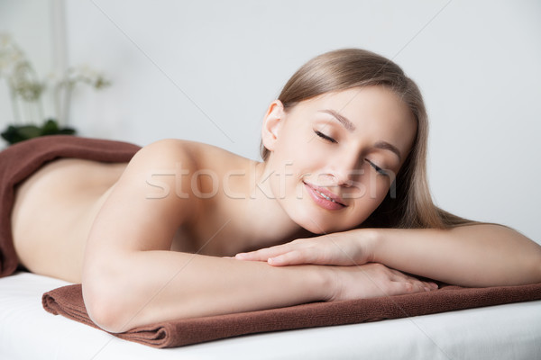 Foto stock: Mujer · spa · salón · masaje · escritorio · Foto
