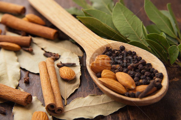 Bors fakanál fahéj levelek fűszer fekete Stock fotó © julenochek
