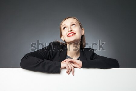 красивой улыбающаяся женщина красные губы портрет Сток-фото © julenochek