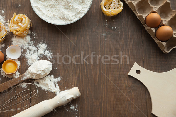 Delicious bake cuisine view from above. Stock photo © julenochek